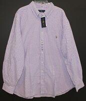 Polo Ralph Lauren Big & Tall Mens 2XB Purple Gingham Button-Front Shirt NWT 2XB