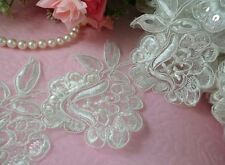 "2 Yards 3 3/4""  (95mm) Beautiful Embroidery Pearl/Sequin Venise Lace Trim-Bridal"