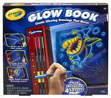 NEW CRAYOLA Glow Book Glowing Animated Art 6 Markers Design Kit Craft Set NIB