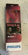 Philips Action Fit Headphones SHQ1250 Brand New in Box- Sweat Resistant-Pink