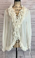 Women's Sheer Beige Ruffled Blouse Medieval Renaissance Pirate Cosplay Costume
