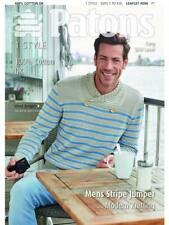 Patons 4056 100% Cotton DK  Knitting Pattern Mens Stripe Jumper Top S to XXL