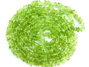 """PERIDOT 3-5mm Uncut Chips Gemstone Beads 36""""/17.5"""" Strand (Select-A-Size)"""