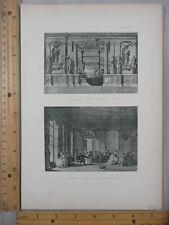 Rare Antique Orig VTG Ruelle, French Salon Louis XVI 2 Image Engraving Art Print