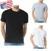 Mens Henley T-shirts Short Sleeve Soft Cotton Pullover Casual Classic Solid Tee