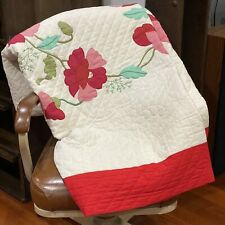 """Beautiful Antique Poppies Floral Applique Quilt 84"""" x 100"""" White Pink Red"""