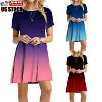US Womens Short Sleeve Swing Dress Ladies Casual Evening Party Mini Skater Dress