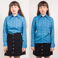 Camisa Blusa de impresión geométrica Azul años 70 para mujer Vintage Mangas Largas Informal 10