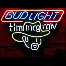 """New Bud Light Tim Mcgraw Beer Man Cave Real Glass Neon Sign 20""""x16"""""""