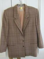 Liz Claiborne !00% Wool Women's Blazer Jacket Brown Houndstooth check petite 8
