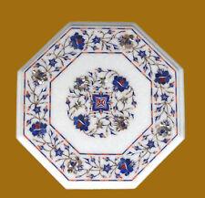 "15"" Marble Coffee Corner Table Semi Precious Stone Floral Craft  Handmade"
