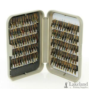 Grey Fly Box + Holographic Diawl Bach Nymph's Trout Flies for Fly Fishing