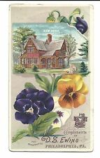 Old Trade Card DS Ewing New Home Sewing Machines Philadelphia PA Pansies