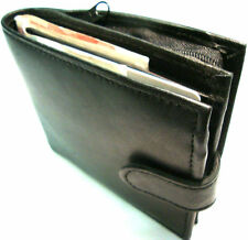 Mens Soft Black Leather Credit Card Wallet with Zip Coin & ID Window & Free Box