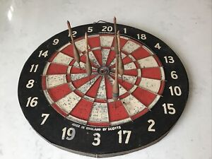 Vintage Double Sided Champion Dart Board Black Red  + 5 Wood Darts England