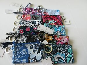 Vera Bradley Zip ID Case With Keychain In A Variety Of Prints New With Tag