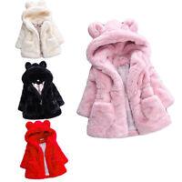 Toddler Kids Girls Baby Faux Fur Fleece Coat Winter Warm Jacket Parka Outerwear