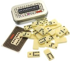 Miniature take-anywhere set of traditional pocket dominoes in travel tin