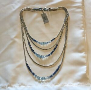 NWT $2995 John Hardy Asli Aquamarine Kyanite Chain Strand Necklace 925 Silver