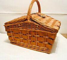 2 Person Wicker Picnic Basket Wine Glasses Set with Flatware Hamper Plates