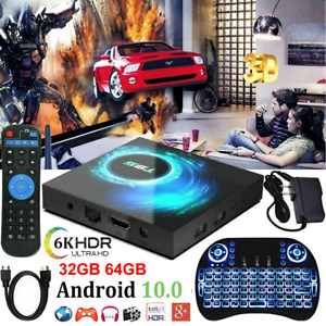 T95 Android 10.0 TV Box Quad Core 32/64GB HD Media Player WIFI HDMI Keyboards UK