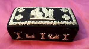 Antique 19C/ 1898 (A) Wedgwood Black Jasperware Box. Victorian Mourning. A/F
