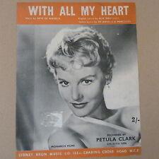 songsheet WITH ALL MY HEART Petula Clark 1957