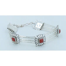 Liquid Silver 925 Sterling Silver Red Coral Square Handset Concho Bracelet