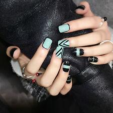 YuNail 24Pcs False Nails Short Oval Nail Art Tips Acrylic For Home Office Ladies