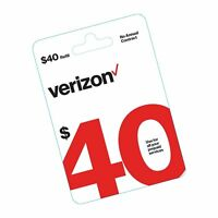 $40 Verizon Wireless Prepaid Refill Top up PIN Card (Mail D... NEW FREE SHIPPING
