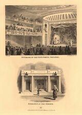 SANS PAREIL THEATRE (now the ADELPHI). Interior & Strand entrance 1834 print