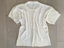 White Short Sleeve Vintage Sweater - size M - L