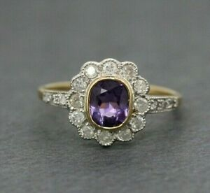 9ct Yellow Gold Amethyst & Diamond Art Deco Cluster Ring Size L 1/2, US 6
