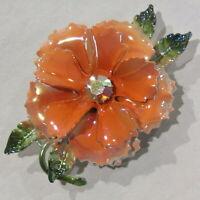 Vintage Flower Power Brooch RETRO Enamel Metal Orange Iridescent Rhinestone