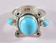 Vintage unusual heavy sterling silver and turquoise stones ring -size O -Navajo?