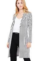 Women's Juniors Premium Stretch Striped Long Sleeve Long Jacket