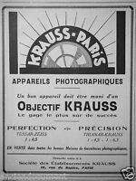 PUBLICITÉ 1927 OBJECTIF KRAUSS APPAREILS PHOTOGRAPHIQUES  - ADVERTISING