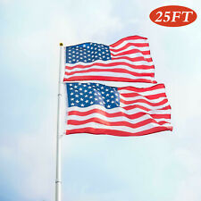 25ft Flag Pole Portable Telescopic Aluminum Sectional Flagpole Kit w/ 2 Us Flags