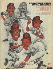 1974 Baltimore Orioles Program/Scorecard v New York Yankees Brooks Palmer Weaver