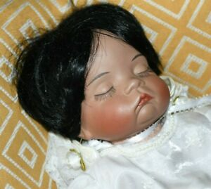 Sugar Britches Porcelain Reproduction African-American Sleeping Baby Girl Doll