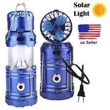 Solar Rechargeable LED Flashlight Fan Power Bank Camping Tent Light Lantern Lamp