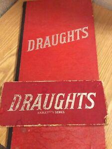 Vintage Draughts Set & Board - Wooden Pieces - Harlesden Series Harold Wesley