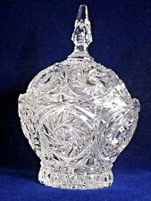 pressed clear glass steeple  liddled candy dish duncan miller