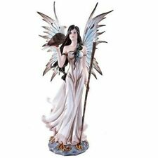 """21"""" Height Large Fairy Holding Orb Staff with Bald Eagle Pet Figurine Fantasy"""