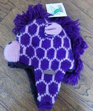 NEW Knitwits Purple Giraffe Pilot Hat Warm Winter Infant 100% Wool 3-18 Mon