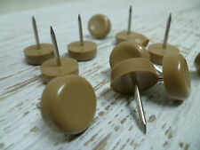 Furniture Nail Glides - Nylon Floor Protectors - 15mm - Beige - 12 Count