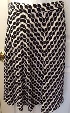 Beige By ECI A-line Panel Skirt Black White Geo Pattern Knit Career Lined Sz 10