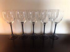 5 France Black Stem Wine Flute Glass Crystal Set Of Five Elegant Champagne Nice