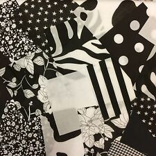 "100 x 4 ""COTONE POLIESTERE Stoffa Patchwork Quadrati BLACK & WHITE Craft Quilting"