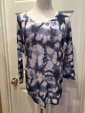 Jones New York Blue White XL Tie Dye 3/4 sleeve Pullover New $69 Sheer Cotton